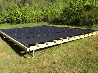 Five 4'x16' ground-mounted Solar Pool Heating Collectors installed by APEX Thermal Services in High Mount, Ulster County, NY