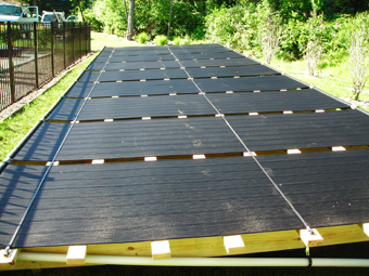 Ground Mounted Solar Pool Heating Collectors installed by APEX Thermal Services in Bridgeport, CT