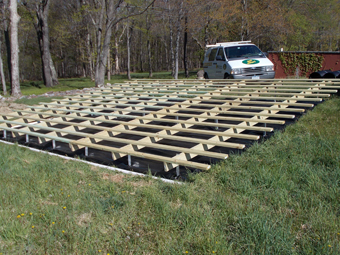 Ground-mount structure for five 4'x20' Aquatherm Solar Pool Heating Collectors, Millbrook, Dutchess County, NY