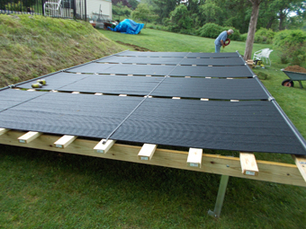Solar Pool Heating Collectors Ground Mounted in North Bridgeport, CT