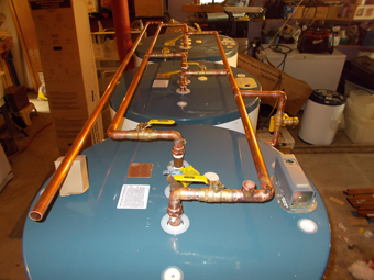Example of Reverse Return Piping used on three 120-Gallon Solar Storage Tanks, Olivebridge, Ulster County, NY