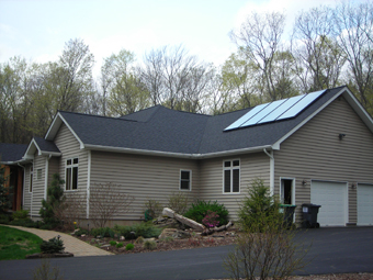 Four Solar Water Heating Collectors provide Domestic Water and Space Heating in Saugerties, Ulster County, NY