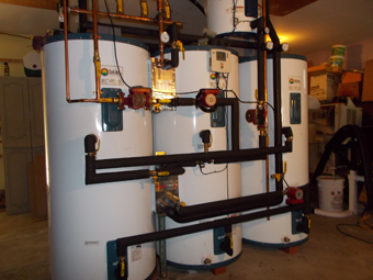 Three 120 Gallon Solar Tanks heated by a Seven-Collector Solar Thermal Drainback System, Olivebridge, Ulster County, NY