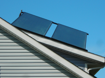 Two 4'x10' Solar Hot Water Collectors Pitched South on an East-facing Roof, Plattekill, Ulster County, NY