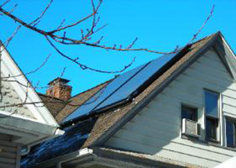 Two SunEarth 4'x8' Collector Solar Thermal System installed on steep roof, Tarrytown, Westchester County, NY