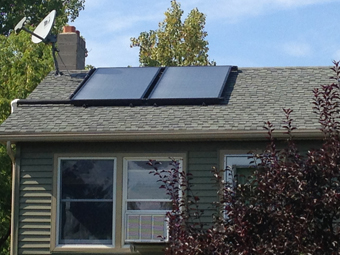 Two SunEarth 4'x8' Collector Solar Water Heating Pressurized-Glycol System, Athens, Columbia County, NY