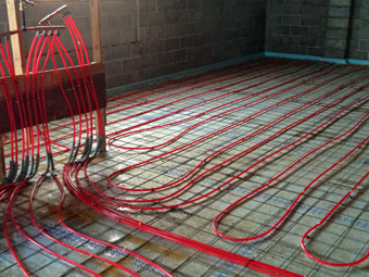 Ulster County Community College, Kelder Hall - Pex tubing for Radiant Heated Slab coming up toward location of distribution manifolds