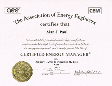 Alan J Paul, Founder of APEX Thermal Services is a Certified Energy Manager through the Association of Energy Engineers