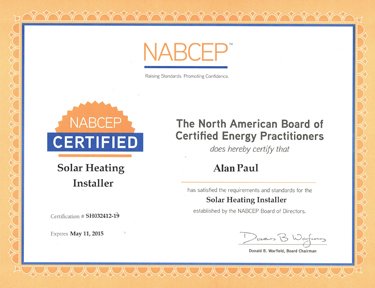 Alan J Paul, Founder of APEX Thermal Services, is a NABCEP Certified Solar Heating Installer