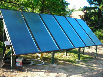 Six Solar Hot Water Collectors provide heat for the pool, domestic water and space heating, Central Valley, Orange County, NY