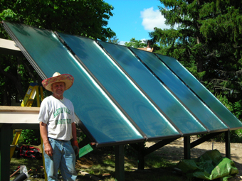 Ground-Mounted Solar Hot-Water Drainback System, heats domestic water, swimming pool and basement, Central Valley, Orange County, NY